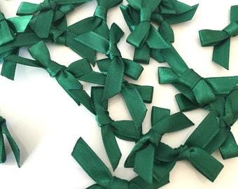 20, satin ribbon bows, emerald green ribbon bows, emerald satin bows, green ribbon bows, green bows, satin bows, craft supplies uk, bows uk