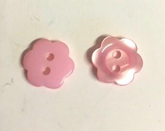 10, pink flower buttons, flower shaped buttons, 11mm buttons, opalescent buttons, dolls buttons, baby buttons, floral buttons, pink buttons