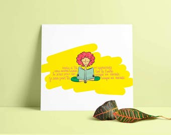 Kids poster, book quote, poster for the bedroom of a boy or girl or baby, print digital color 30 x 30