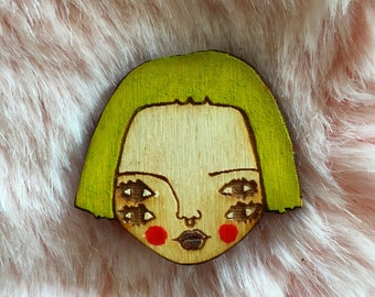 Wooden Illustrated Art Badge Brooch LIME GREEN