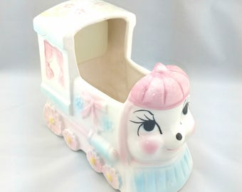 Vintage Choo Choo Train Music Box, Plays Rock A Bye Baby, Baby Planter, My-Neil, New Original Stock (NOS)