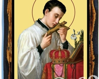 Saint Aloysius Gonzaga Catholic Christian Icon on Wood