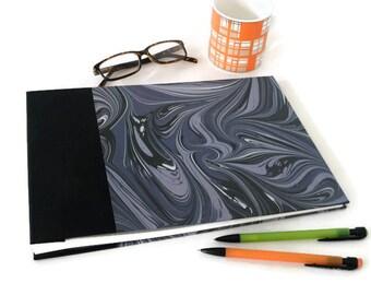 Large Hardback Marbled Album, Journal or Sketchbook in Black Bookcloth & Contemporary Printed Marbled Paper