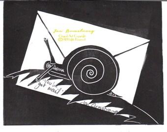 Lino Print Art Card - You've Got Mail