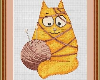 Cat cross stitch pattern Cat design cross stitch Cat lover gift Cross Stitch Cat Pattern Design pet cat house cat Home Decor Pattern kitten