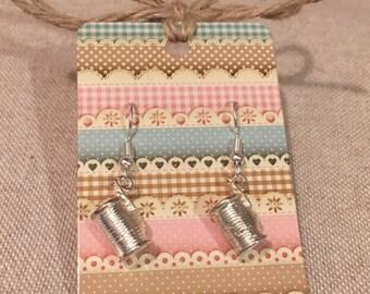 Sewing Reel Charm Earrings