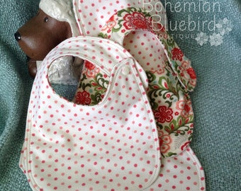 FREE SHIPPING-Bonus TWO Bibs One Burp Cloth-Bohemian-Polka Dot-Three piece set-Shower Gift Set-Bonus item