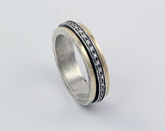 Spinner Bands ring silver 925 and red gold with zircon stone's for Men and Woman HANDMADE jewelry.--