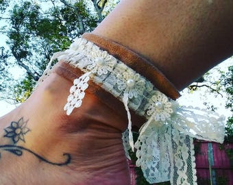 Tan Suede and Lace Ankle Cuffs