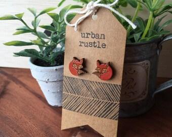 Sleepy fox wooden earrings - fox wooden studs - animal jewelry - animal jewellery - wooden animal earrings - fox wooden jewelry
