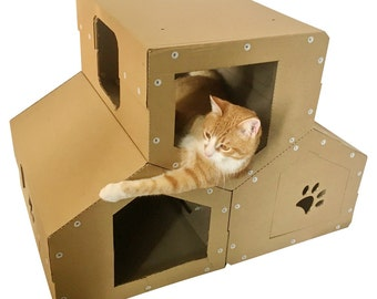Cardboard Cat Penthouse, Modern Cat Tree,Cat Furniture, Cat Toy, Cat Cave, Pet House, Cardboard Furniture,Cat Tower,Kitty Tree