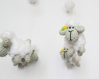 baby mobile sheep / nursery decor / nursery furniture / crib mobile / crochet sheep mobile / baby mobile / baby gift mobile / baby shower /