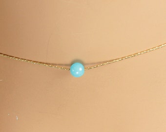 Minimal Turquoise on Gold Chain,Minimal Gold Necklace,Minimal Gold Choker,Dainty Gold Choker,Thin Gold Choker,Layering Necklace,Gift for Her