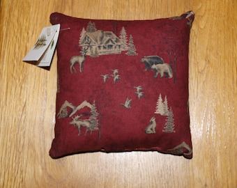Red cabin print Balsam filled pillow