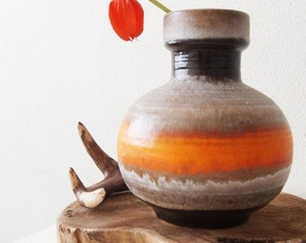 Vintage (70's) orange West Germany vase, Carstens