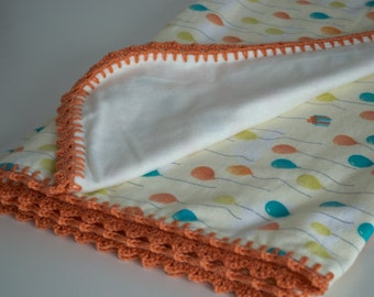 Crochet-trim flannelette blanket