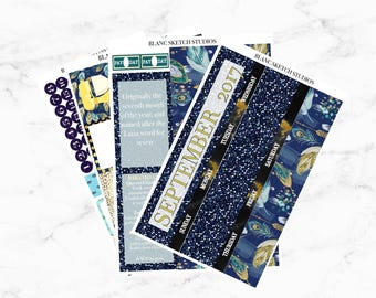 September monthly kit - Erin Condren Life Planner stickers - ECLP sticker - Mambi Happy - fall fashion - runway - issue - month view 2017