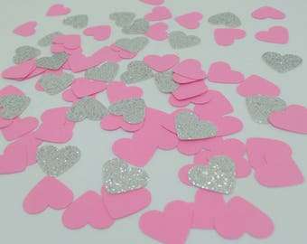 """Pink and Silver glitter heart confetti 5/8"""" (250 pieces) Baby Shower, Decor, Wedding, Birthday, Gender reveal, Engagement Party"""
