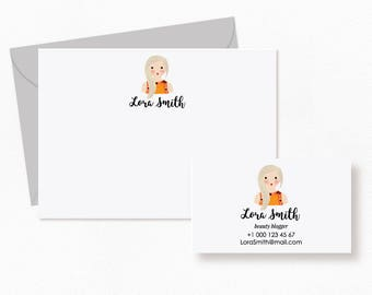 Personalized Stationery Set. Personalized note cards, business cards. Stationery for Women. Personalized Note Cards for Women. Digital File.