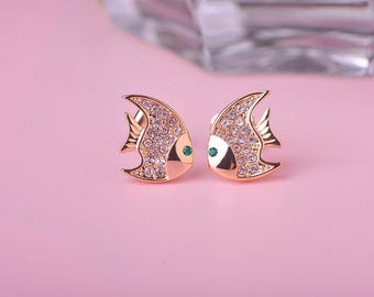 Gorgeous, 18K Gold Fish Earrings accented with real Austrian Crystal and Man Made Emerald Eyes