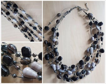 Multi strand Black and Grey Glass Necklace - glass beaded necklace - 5 strand necklace - glass bead necklace