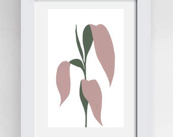 Palm leaves botanical painting in gouache A4 size original artwork on cartridge paper