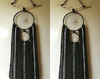 """Navajo Sky Dreamcatcher made with natural white chipped stones 10"""" x 40"""""""