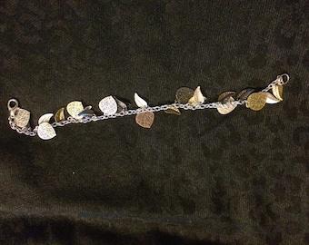 Leaf Bracelet, mixed metal, nature, Silver Chain bracelet
