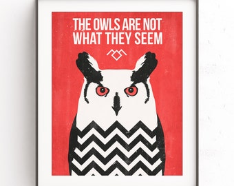 Twin Peaks poster. The owls are not what they seem. Retro travel poster. David Lynch art. Damn good coffee. Agent Cooper design. McLachlan