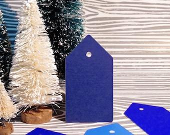 Christmas Gift Tags- Blue Gift Tag Set of 20 Includes Silver Wire, Blue Gift Tags, Gift Tags, Holiday Gift Tags, Christmas Gift Wrap