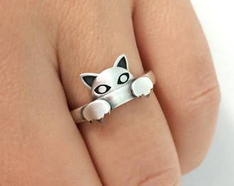 Sterling Silver Cat Ring, Cat Ring, Cat Jewelry, Cat Lover Gift, Kitty Ring, Cat Paw Ring, Animal Ring, Paw Jewelry, Christmas Gift