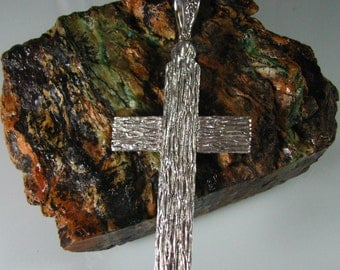 Very Heavy Handmade Sterling Silver textured cross.