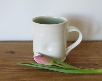 White Porcelain Mug with Sage Green Lining