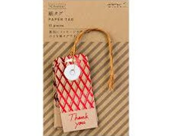 Red Pocket tags, Paper gift tags, Hang tags, Thank you labels, Message tags with string, Party labels