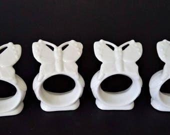 Porcelain Napkin Rings Set Of 4 Napkin Rings Holders