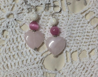 Heart earrings, heart jewelry, love earrings, pink heart earrings, pink love earrings, pink love jewelry, sterling silver, gift for her
