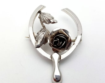 Bond Boyd Sterling Silver Brooch Vintage Signed Rose Wishbone Good Luck Brooch Pin Wedding Boutonniere Boutineer