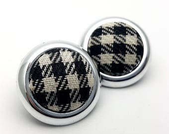 Clip On Silver Tone Plastic with Black and White Tartan Plaid Fabric Center Round Stud Earrings Vintage 80s Fashion Lightweight Simple
