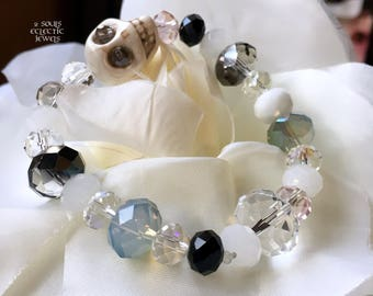 Crystal and Skull Stretch Bracelet Day of the Dead Dia De Los Muertos Punk Goth Halloween White Blue Purple