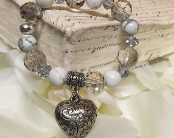 Heart Charm Stretch Bracelet Crystals Howlite Beads Elegant Evening Jewelry Jewellery Pretty Wedding Women Accessories