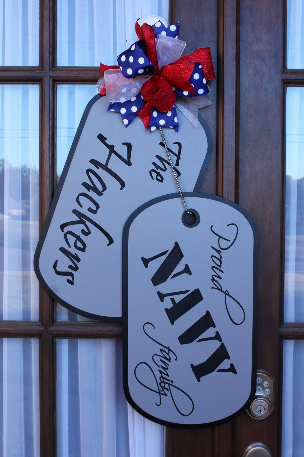 Military Family Wooden Dog Tag Door Hanger