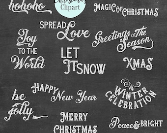 BUY 2 GET 1 FREE, Christmas Greetings Chalkboard Clip Art, Christmas Clipart, Christmas Photo Overlays,  12 png, 300 dpi, instant download