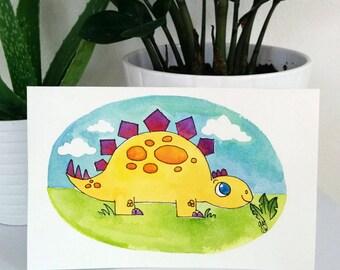 """Original Watercolor - Stegosaurus -dinosaur - 5.5x8.5"""""""