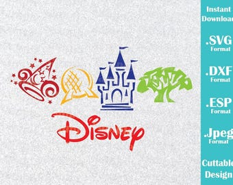 INSTANT DOWNLOAD SVG Disney Parks Inspired Castle for Cutting Machines Svg, Esp, Dxf and Jpeg Format Cricut Silhouette