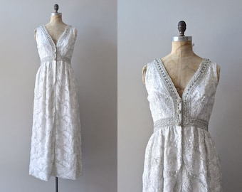 1960s wedding dress // silver 60s gown // Bonwit Teller gown // boho wedding dress
