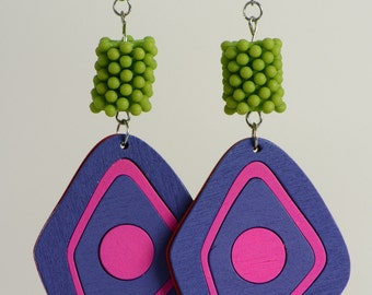RR#29 - Lime and Purple Earrings