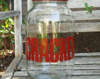 Large glass jar with red metal lid cracker jar, CRACKER  glass storage container,retro glass container,vintage glass container, sun tear jar