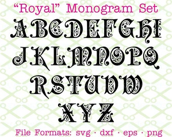 Royal Scroll SVG Monogram Letters, Svg Dxf Eps & Png. Scroll Letters, Svg Alphabet, Monogram Letters Cricut, Silhouette; Svg Cut Files