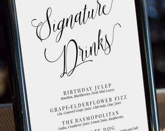 Editable Signature Drinks Sign, Drinks Menu Template, Calligraphy Font, Party Signature Drinks, Wedding Sign, Wedding Printable, MAM200_01A