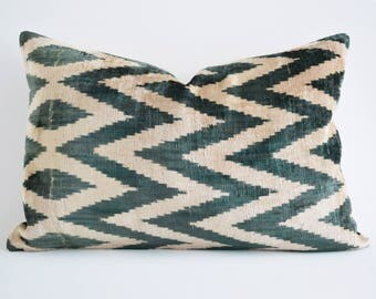SALE Handwoven Silk Green Decor Silk Velvet ikat Pillow Cover Green Velvet Pillow Handwoven Hand Dyed Green ikat Pillow